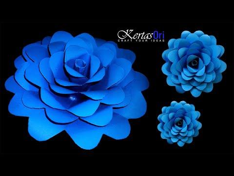 DIY - Easy Paper Flower For Decoration   Blue Flower   Decoration Ideas