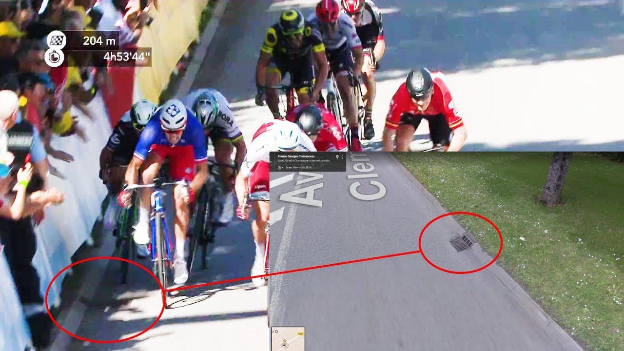 Cavendish hit drainage hole and lost balance | Tour de France 2017 Stage 4