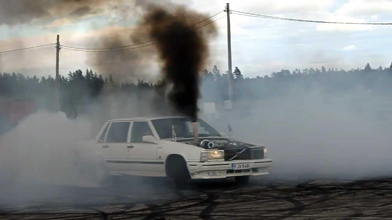 Volvo 740 Turbo Diesel OM606 Burnout  YouTube