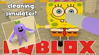 ROBLOX CLEANING SIMULATOR | I FOUND SPONGEBOB! | RADIOJH GAMES
