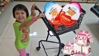 KINDER JOY Surprise Egg Hunt Kids Shopping at the Supermarket