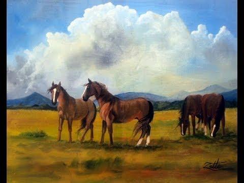 Como pintar cavalos leo sobre tela youtube - Como pintar sobre tela ...
