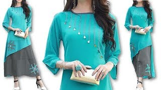 DIY long kurti with decorative neck design with button and lace cutting tutorial  Hindi