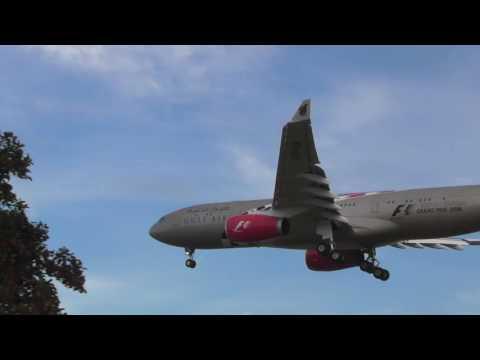 Good Gulf Air Airbus A330 Bahrain JFk Sunrise landing Heathrow 28sep16 733am