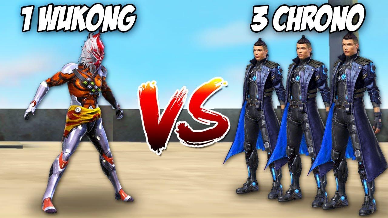 3 CHRONO vs 1 WUKONG PVP en FREE FIRE! 😂 *gracioso* MOMENTOS GRACIOSOS FREE FIRE