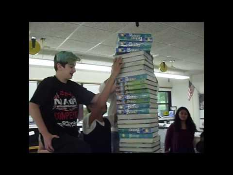 Stacking 39 Books On Tiny Paper In Mr Peppe's Class (Albert Leonard Middle School New Rochelle, NY)