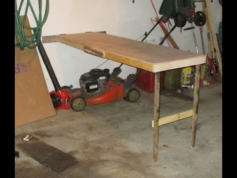 Folding wooden workbench build