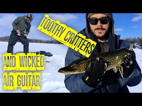 Ice Fishing For Pike On Collins Lake And Jamming On The Ice