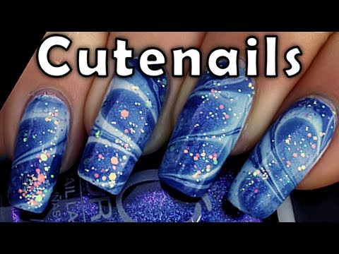Water marble nail art : cute blue gradient glitter nails ...