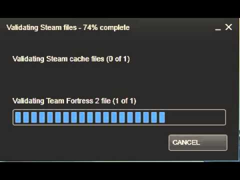 Validating steam cache files 0 of 1