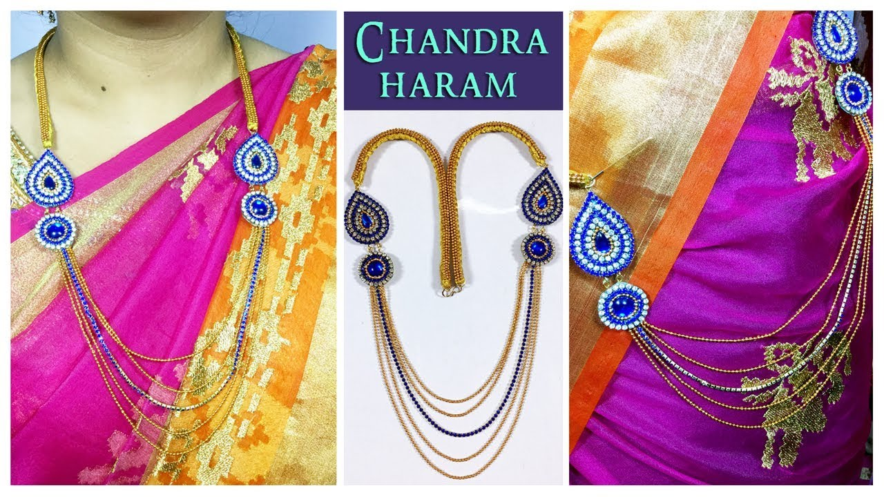 5 Step Chandraharam With Blue Kundans