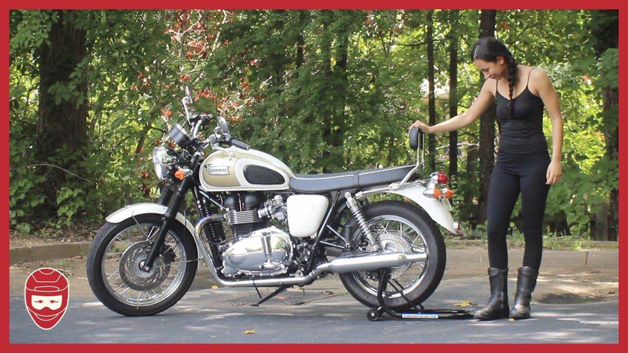 Loading A Motorcycle Onto A Rear Stand Triumph Bonneville T100