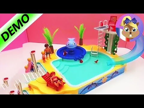 Playmobil piscine avec toboggan et plongeoir et baleine for A la piscine translation