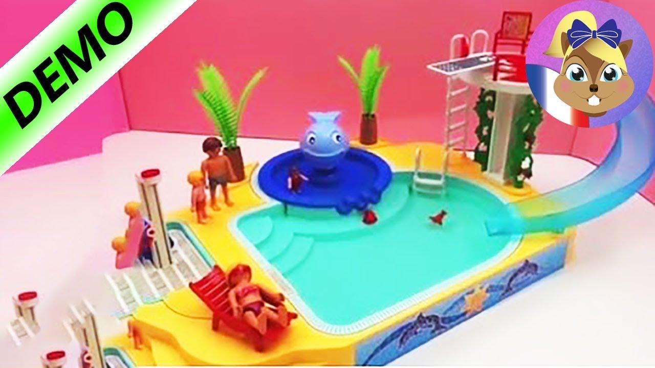 Incroyable Playmobil Piscine Avec Toboggan   Et Plongeoir Et Baleine Qui Crache De  Lu0027eaus Idee