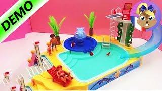 Playmobil Piscine Avec Toboggan   Et Plongeoir Et Baleine Qui Crache De  Lu0027eaus