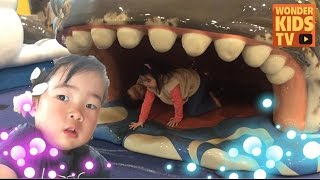 고래 입 속까지 들어간 재이와 지수-키즈토리아에서 재이와 지수 l 키즈카페 l kids cafel 타요카페l tayo cafe