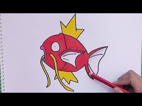 Dibujando y coloreando a Magikarp Pokemon  Drawing and coloring