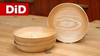 901. Drewniane miski z jesionu - wykonanie na tokarce