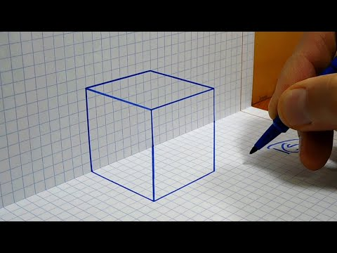 How to Draw a Cube 3D Trick art on Graph paper