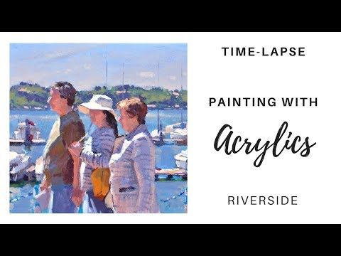Painting people with acrylics demonstration - Riverside Walk