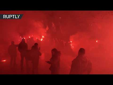 Ukrainian nationalists march in torchlight procession through Odessa