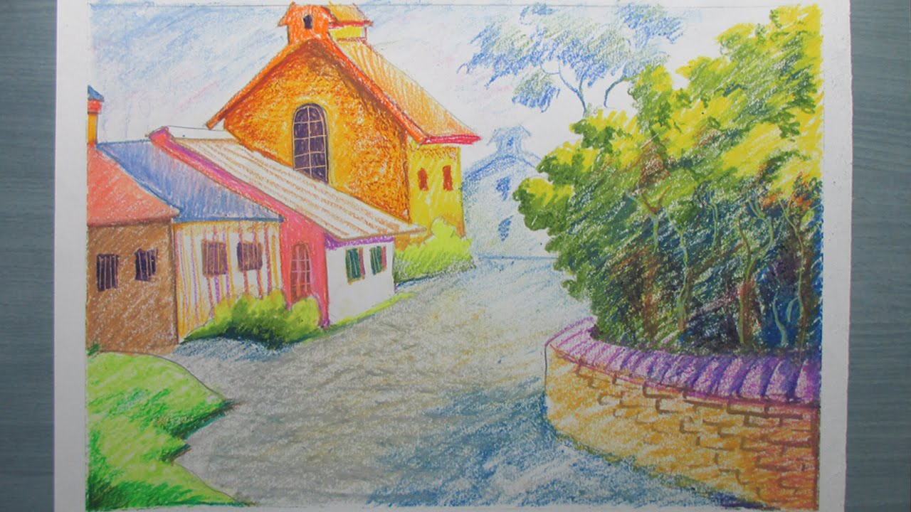 Village Life Paintings Easy How to Draw a Village ...