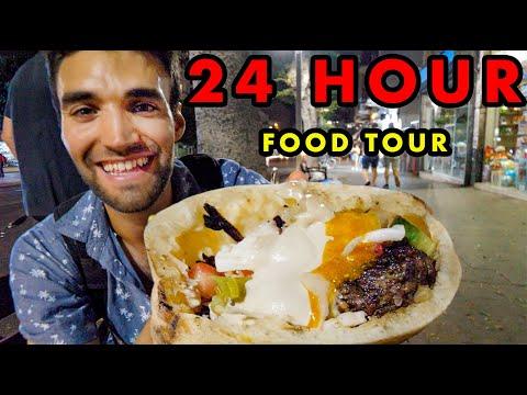 STREET FOOD In TEL AVIV!!! Ultimate 24-HOUR FOOD TOUR Of MIDDLE EASTERN FOOD!