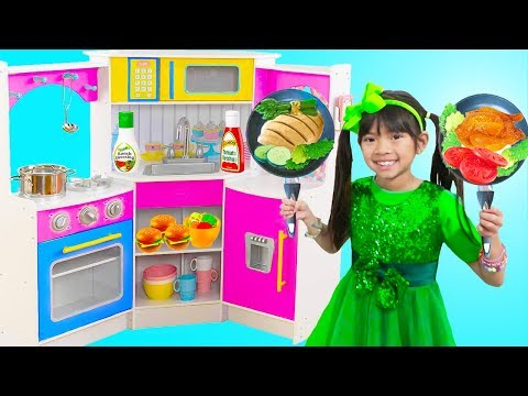 Emma Pretend Play w/ Restaurant Kitchen Buffet Dinner Party Kids Toys