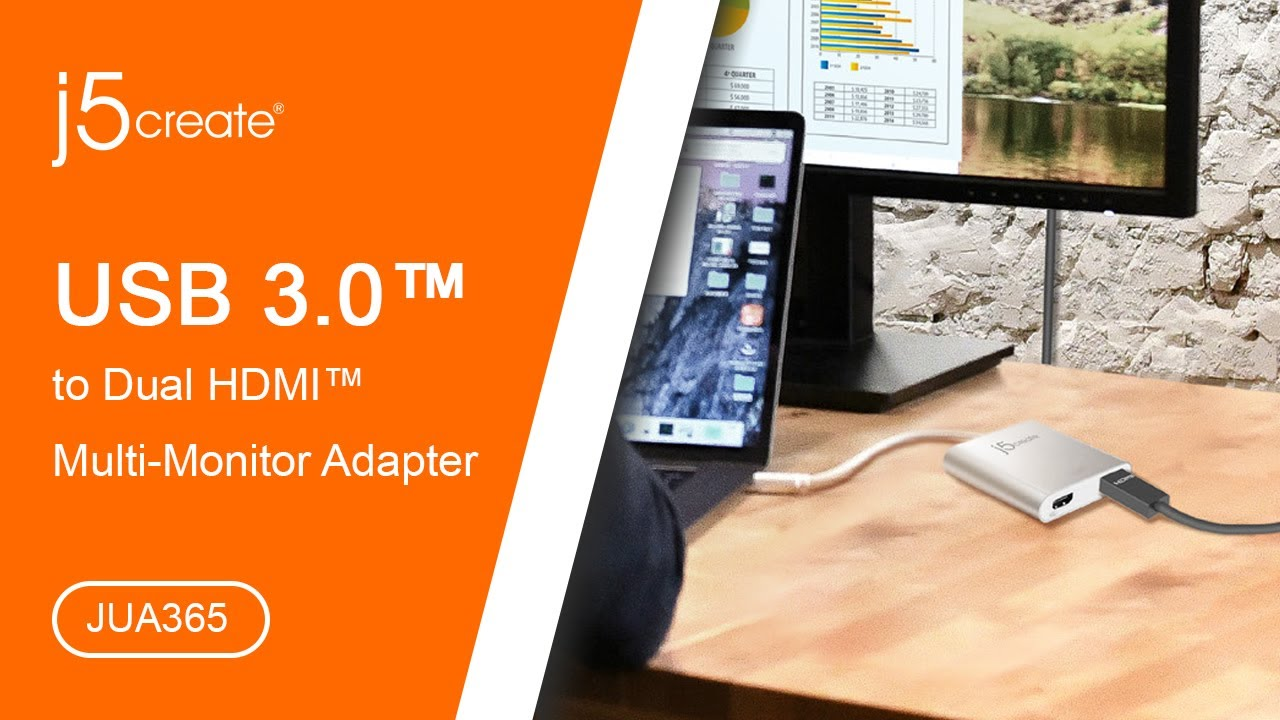 j5create® USB™ 3.0 to Dual HDMI™ Multi-Monitor Adapter JUA365 - YouTube