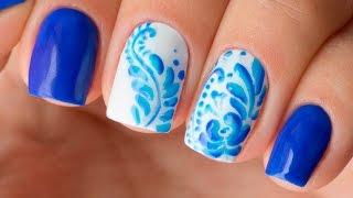 Рисунки гель-лаком на ногтях. Синий дизайн ногтей Гжель. Красивый маникюр (shellac)