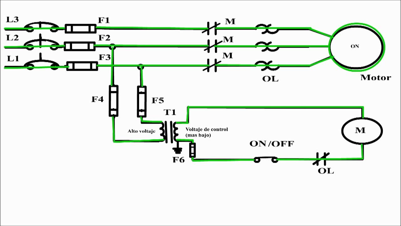 3 phase stop start wiring diagram 2004 jeep liberty parts circuito de control a 2 hilos. arranque y paro motor trifasico. - youtube