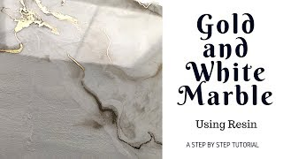 STEP BY STEP RESIN Gold and White Marble