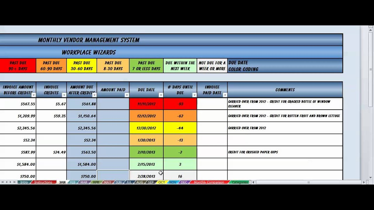 Vendor management system youtube for Vendor management excel template