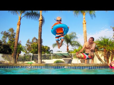 Michael Jumps off the Diving Board & Swims Under Water!!