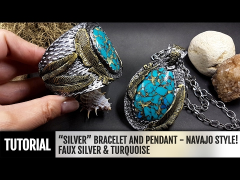 "DIY How to make ""Silver"" Bracelet and Pendant in Navajo style! Faux Silver&Turquoise."