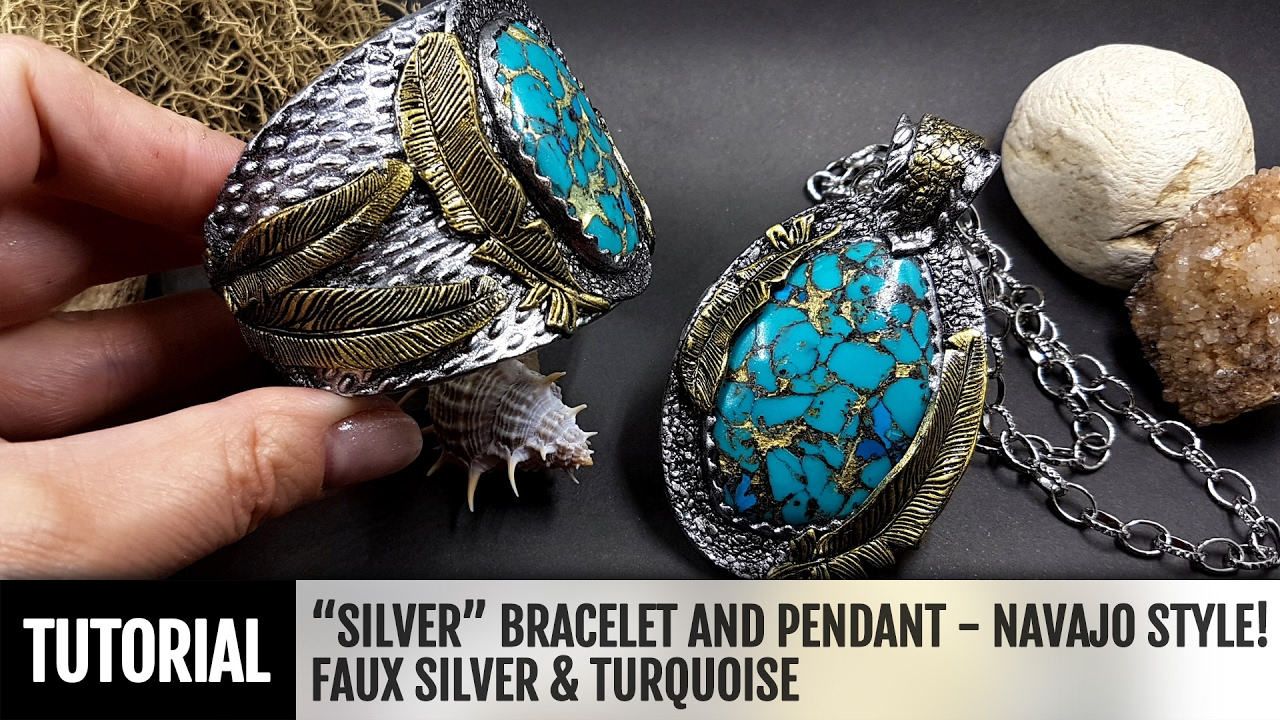 Diy how to make silver bracelet and pendant inspired by navajo diy how to make silver bracelet and pendant inspired by navajo style polymer clay tutorial youtube mozeypictures Images
