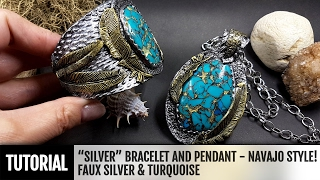 """DIY How to make """"Silver"""" Bracelet and Pendant in Navajo style! Faux Silver&Turquoise."""