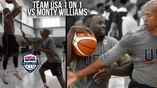 TEAM USA 1 on 1 DRILL VS COACH! KD, Carmelo, Draymond, Paul George, & Derozan VS Monty WIlliams