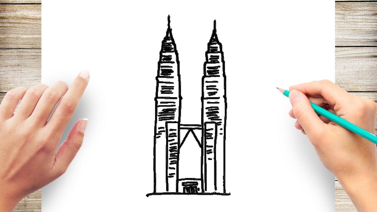 How To Draw Petronas Twin Tower Youtube