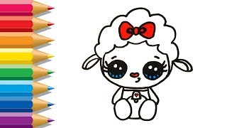 How to Draw Cute Lamb step by step Easy   Sheep Coloring Pages   Learn Paint with Animal