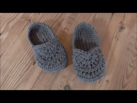 Hausschuhe, dicke Socken gehäkelt - YouTube