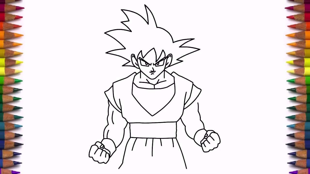 How To Draw Goku From Dragon Ball Z Step By Step Easy Youtube