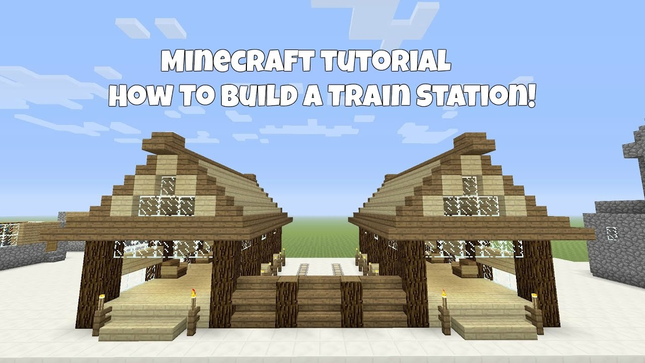 minecraft tutorial how to build a wooden train station youtube. Black Bedroom Furniture Sets. Home Design Ideas