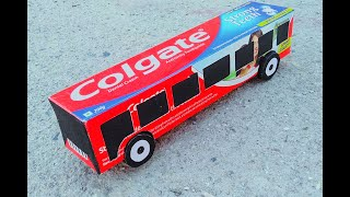 How to Make bus of paper - Colgate box easy
