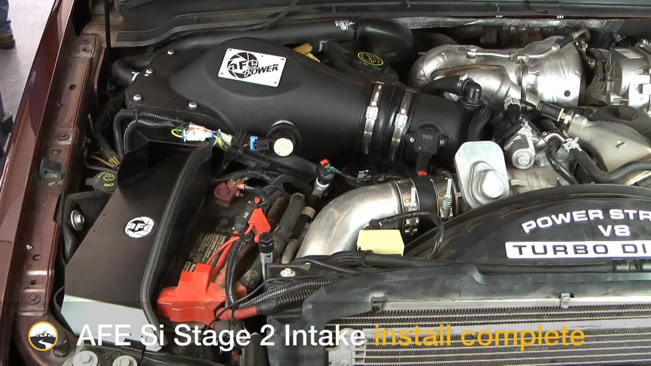 afe stage 2 si cold air intake install 2008 ford 6 4l powerstroke youtube [ 1920 x 1080 Pixel ]