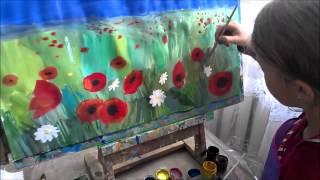 Як намалювати поле з маками. Урок образотворчого мистецтва для дітей