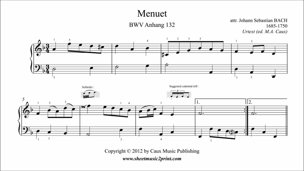 Bach : Menuet in D minor, BWV Anhang 132 - YouTube