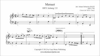 Bach : Menuet in D minor, BWV Anhang 132