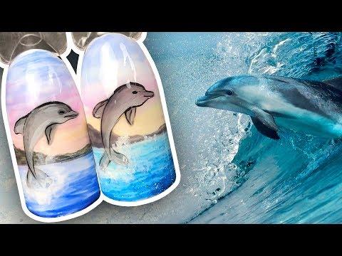 🌊 Морской Дизайн с Морем и Дельфином 🌊 Рисунок Гель-лаком для Маникюра в Отпуск Поэтапно