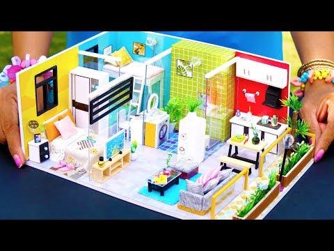 5 DIY Miniature Dollhouse Rooms ~ Bathroom, Bedrooms, Kitchen, etc.